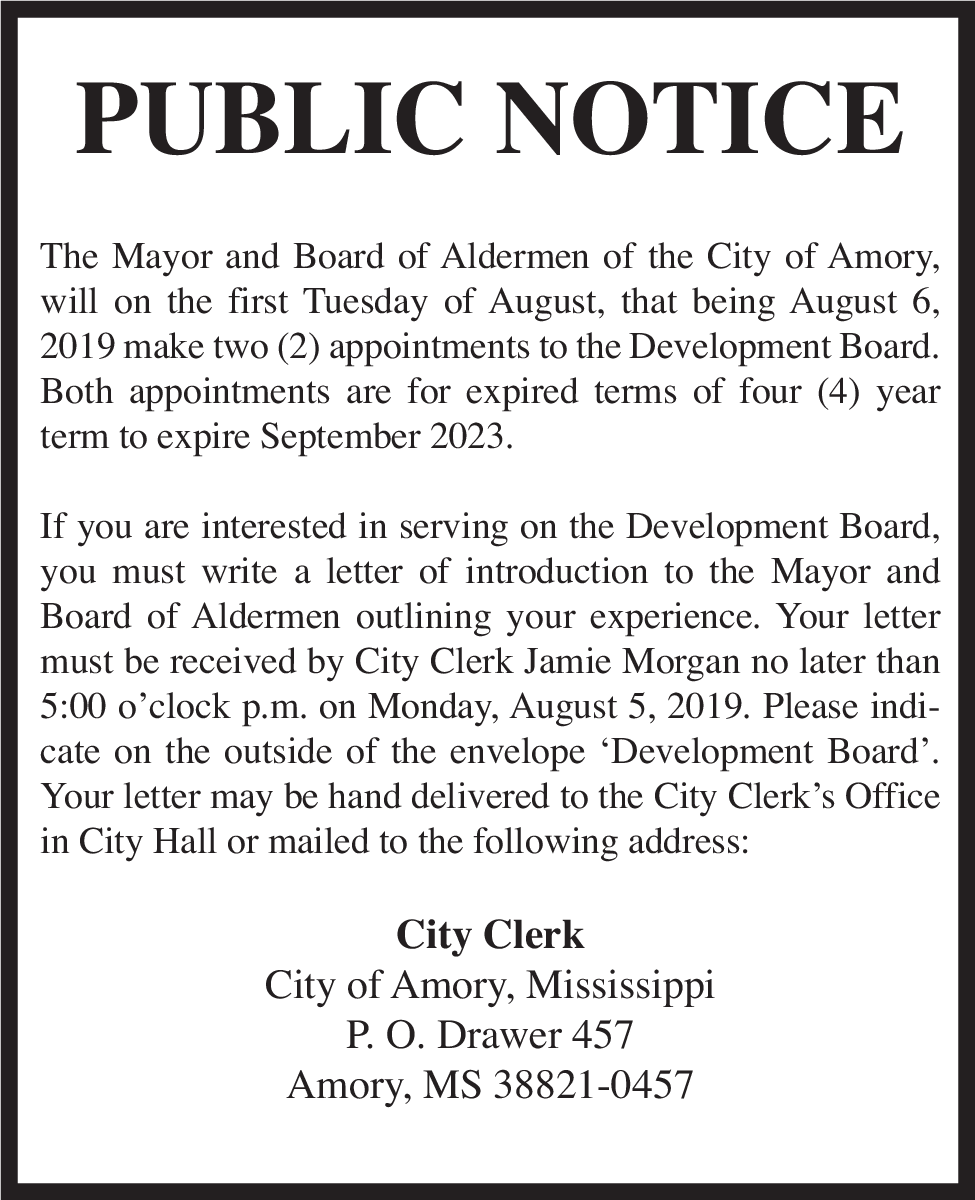 Notice About Development Board in Amory, MS, Government